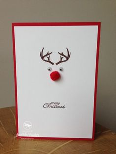 17 Beautiful Diy & Homemade Christmas Card Ideas for Diy Christmas Cards Homemade Christmas Cards, Christmas Cards To Make, Handmade Christmas, Homemade Cards, Christmas Diy, Rudolph Christmas, Christmas Design, Xmas Cards Handmade, Creative Christmas Cards