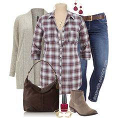 "#plus #size #outfit #alexawebb  ""Plus Size - Plaid Shirt"" by alexawebb on Polyvore @alexandrawebb"