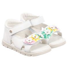 39d78f0d701 Children s Classics Unisex White Leather Sandals. Shop from an exclusive  selection of designer Shoes