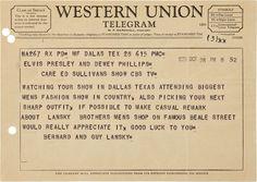 Lansky Bros telegram to Elvis when he appeared on Ed Sullivan Tv Show - 1956 Union Symbol, Elvis Cd, Elvis Collectors, Elvis Memorabilia, The Ed Sullivan Show, Big Men Fashion, Family Photo Album, Always On My Mind, Rhythm And Blues