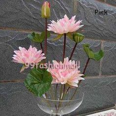1x50cm/20Artificial Autumn Water Lily Flowers Lotus Wedding Party