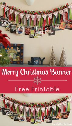 DIY Christmas Fabric Tie Banner with Free Merry Christmas Printable #FreePrintable #Christmas #DIY