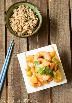 Shrimp with pineapple, onions, jalapenos, and green bell peppers in a sweet and sour sauce, served with a multigrain medley. This sweet and sour shrimp is the perfect dish to serve for Chinese New Year. #ad #ChineseNYEats