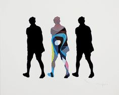 "Saatchi Art Artist Tehos Frederic CAMILLERI; Limited Edition Print, ""Three Walking Men V03 - VP"" #art"