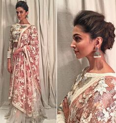 Deepika Padukone in a sequined ivory lehenga with pink lemonade dupatta. Ellie Saab, Indian Dresses, Indian Outfits, Indian Clothes, Lehenga Wedding, Wedding Dress, Indian Wedding Hairstyles, Indian Attire, Indian Designer Wear