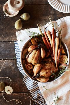Make no (wish) bones about it—a roast chicken is the ultimate fall comfort food. We're dressing ours with fresh herbs, juicy pears and root veggies galore, now on the Fall Recipes, Dinner Recipes, Healthy Recipes, Entree Recipes, Healthy Food, Healthy Eating, Comida Israeli, Root Veggies, Cornish Hens