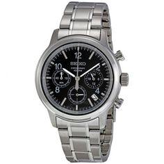 Seiko Black Dial Stainless Steel Chronograph Men's Watch SSB007