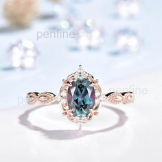 Alexandrite Engagement Ring, Alexandrite Ring, Diamond Engagement Rings, Most Beautiful Engagement Rings, Full Eternity Ring, 18k Rose Gold, Round Diamonds, Jewelry Stores, Gold Rings