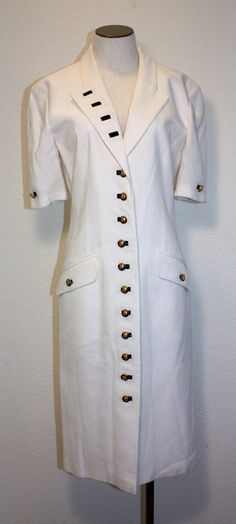 Louis Feraud Nautical Dress White Dress with Navy Accents Vintage Retro 1980s Office Resort Cruise;etsy $55