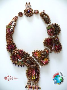 Bead bordado collar JARDÍN SECRETO con MaewaDesign shibori