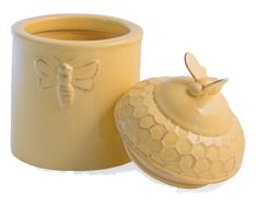 Honeycomb and Bee Canister Beehive Shoppe Bee Honeycomb, Honeycomb Pattern, Kitchen Themes, Kitchen Decor, Kitchen Ideas, Bee Supplies, Coil Pots, Bee Gifts, Bee Theme