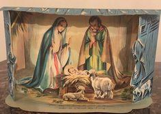 Gorgeous Antique Old Christmas Nativity Scene Pop Up Post Card Vintage Paper HTF