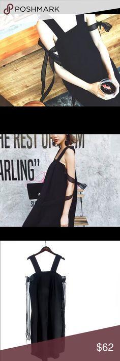 Black backless ribbon dress Back length:38in/97cm  Bust: 34.6in/88cm Dresses High Low