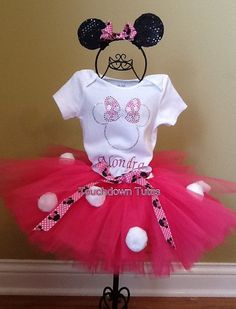 Minnie Mouse Pom Pom Tutu outfit with ears  by TouchdownTutus, $56.00