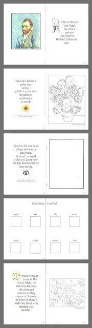 art: printable van gogh study- This site has ana amazing amout of material on fun teaching games and activities! I'm humbled by how much this mommy does with her kids!