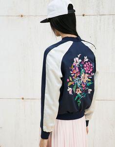 Embroidered satin bomber jacket - Bomber jacket - Bershka United Kingdom