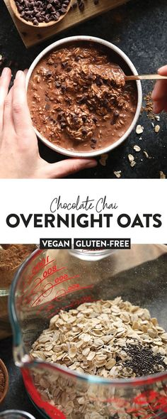 Whip up a batch of overnight oats with this delicious and nutritious Chocolate Chai Vegan Overnight Oats recipe. All the fall flavors you're craving in one scrumptious breakfast. Overnight oats were never more delicious! Overnight Oats Chocolate, Low Calorie Overnight Oats, Chai Overnight Oats, Overnight Oats With Yogurt, Chocolate Oats, Overnight Breakfast, Delicious Chocolate, Best Overnight Oats Recipe, Rolled Oats Recipe