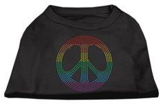 Rhinestone Rainbow Peace Sign Shirts Black XXL (18)