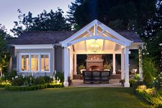 Craftsman Style Homes Design Ideas, Pictures, Remodel, and Decor - page 30 Pool house Back Patio, Backyard Patio, Backyard Cottage, Porch Garden, Outdoor Rooms, Outdoor Living, Indoor Outdoor, Veranda Design, Covered Patio Design