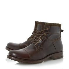 Dress up a casual look with this dapper stitched toecap detail boot. It features a corduroy collar, lace up detail and inside zip fastening. Team it with fitted jeans, black t-shirt and a biker jacket.