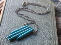 Springs of the Banshee Boho Necklace. Hand-Wired Howlite Spear Fringe Necklace