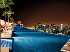 11.) Singapore Marina Bay Sands Hotel This stunning swimming pool is found on the 57th floor of the Marina Bay Sands Hotel in Singapore. The infinity pool offers amazing views of the city.