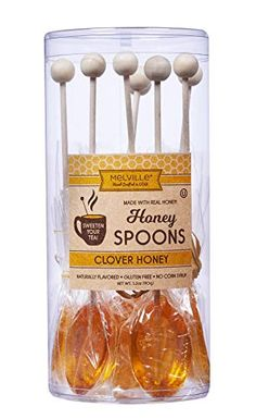 Melville Candy Real Clover Honey Spoons, 8 Lollipop Stirrers, Complements Gourmet Treats and Beverages - Coffee, Tea, Cocoa, Hot Chocolate, Cocktails - Perfect for Holidays and Gifts Housewarming Party Favors, Honey Spoons, Candy Companies, Corn Syrup, Gourmet Recipes, Hot Chocolate, Cocoa, Treats, Chocolate Cocktails