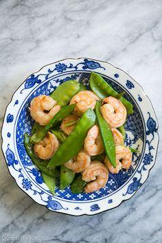 Shrimp with Snow Peas ~ A classic Chinese stir fry of shrimp and snow peas with a mild ginger-garlic sauce. ~ SimplyRecipes.com
