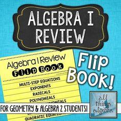 Algebra 1 Review Flip Book (For Geometry & Algebra 2 Students!)