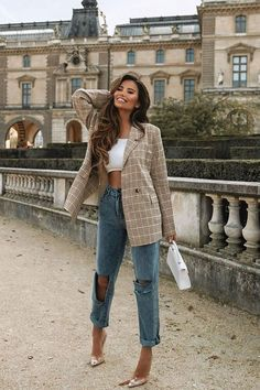 The Boss Babe Blazer - Taupe/Yellow Blazer Outfits Casual, Cute Casual Outfits, Girly Outfits, Casual Brunch Outfit, Summer Brunch Outfit, Plaid Outfits, Pretty Outfits, Stylish Outfits, Winter Fashion Outfits