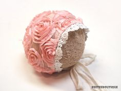 Pink Rose Lace Bonnet Pink/Ivory Mix lace by BeeTeeBoutique Rose Lace, Newborn Photography Props, Winter Hats, Ivory, Facebook, Fabric, Pink, Etsy, Tejido
