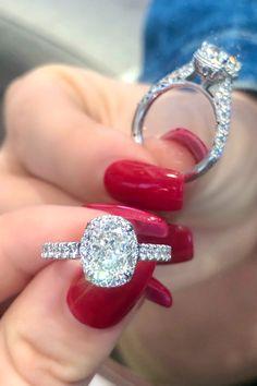 We love all things @tacori including this stunning 2.00 carat Tacori cushion cut diamond engagement ring in a halo setting featuring a total of 0.77 carats of accent diamodns. #2carat #diamond #halo #tacori #engagement #ring #sparkle #ido #cushion #cushioncut Asscher Cut Diamond, Radiant Cut Diamond, Emerald Cut Diamonds, Oval Diamond, Princess Cut Diamonds, Tacori Engagement Rings, Designer Engagement Rings, Pear Shaped Diamond, Diamond Shapes