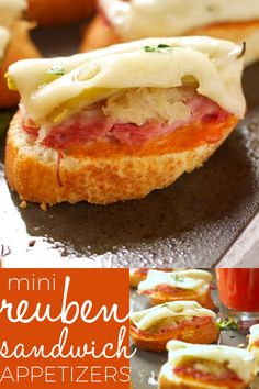 Reuben Sandwich Appetizers are traditional reuben sandwich ingredients, plus a special ingredient for an extra kick, served open faced on bite sized toasted baguette. Recipe from thebusybaker.ca! #Reuben #Sandwich #appetizer #St. Patrick's Day #friends #mini via @busybakerblog