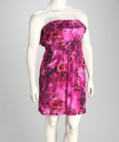 Take a look at this Magenta Floral Wave Ruffle Plus-Size Strapless Dress by Yummy on #zulily today!