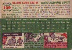 1954 Topps #109 Bill Bruton Back