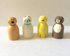 Animal peg doll set - bunny - cat - chick - dog - pet peg dolls - dollhouse - wood toys - wooden animals - handpainted dolls - wooden dolls