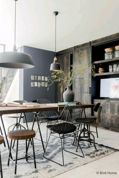 To Create An Industrial Dining Room industrial dining room simple idea dining room simple idea 5 Industrial Interior Design, Industrial Dining, Industrial House, Industrial Interiors, Home Interior, Interior Decorating, Industrial Style, Vintage Industrial, Decorating Ideas