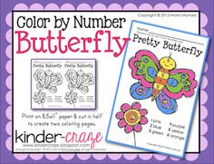Color By Number Butterfly from Kinder Craze on TeachersNotebook.com -  (1 page)  - FREE color by number butterfly - perfect for spring!