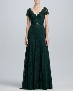 Cap-Sleeve Lace Gown by Theia at Neiman Marcus.