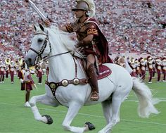 University of Southern California (USC) Trojans. Traveler with Trojan rider. The horse is named for Robert E Lee's horse.