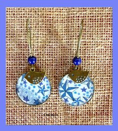 Grandes boucles d'oreilles liberty adelajda bleu : Boucles d'oreille par crocmyys