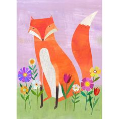Fox in Flowers Canvas Painting
