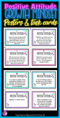 Do you want to teach your teenage students how to improve their growth mindset and develop a more positive attitude to life as well as their education? Then this motivational and inspirational set of posters and task cards is for you! @resourceforce