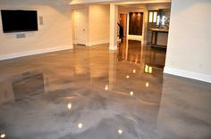 Epoxy Floor is the new trend in interior design. Used to be Epoxy Floor a choice for garages and commercial spaces only, well not any more. Stained Cement Floors, Concrete Wood Floor, Cement Stain, Residential Concrete Floors, Acid Stain, Concrete Color, Polished Concrete, Basement Flooring, Basement Remodeling