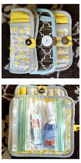 """Make your own """"Just in Case"""" clutch stashed with all sorts of handy little odds and ends out of, get this, a potholder! Via eighteen25: a girl's emergency clutch"""