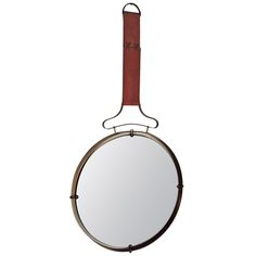 Magnificent Italian Leather and Brass Wall Mirror | From a unique collection of antique and modern wall mirrors at https://www.1stdibs.com/furniture/mirrors/wall-mirrors/