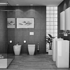 Gray bathroom decorating ideas yellow grey decor black and white Modern Bathroom Tile, Gray Bathroom Decor, Bathroom Design Small, Grey Bathrooms, Contemporary Bathrooms, Bathroom Ideas, Man Cave Bathroom, Master Bathroom, Wet Rooms