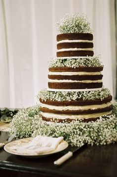 naked wedding cake with baby's breath