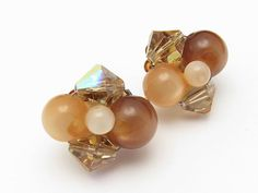 Clip On Earrings Moonglow Crystal Vintage Topaz by hawaiibeads2