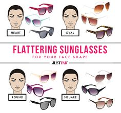 Find the most flattering sunglasses for your face shape with this handy guide. #JustFab